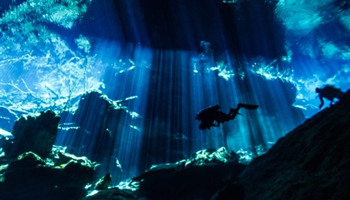 Scuba diving in CENOTE CHAC MOOL in Mexico