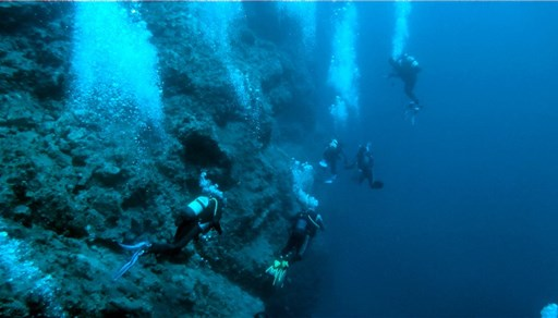 Scuba diving in Mansell reef in Greece