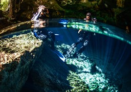 Scuba diving in CENOTE DOS OJOS in Mexico