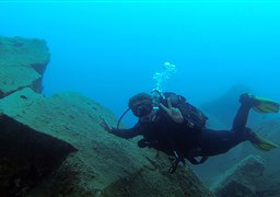Scuba diving in Lion Face, Marine Park Area in Greece