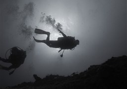 Scuba diving in Scire. Haifa bay in Israel