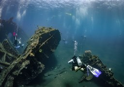 Scuba diving in USS Liberty Shipwreck in Indonesia
